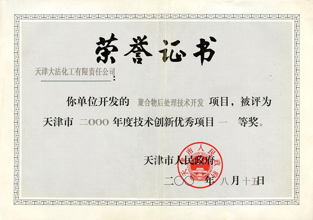 2000年度技术创新优秀项目一等奖(聚合物后处理技术开发)