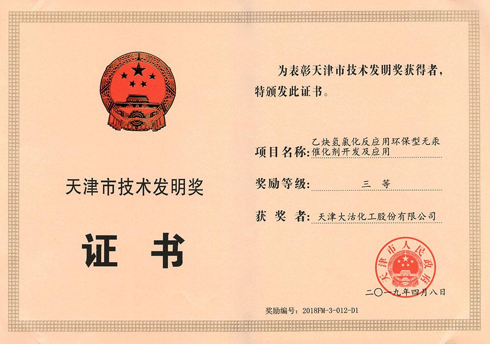 2019年天津市技术发明奖三等奖(乙炔氢氯化反应用环保型无汞催化剂开发及应用)