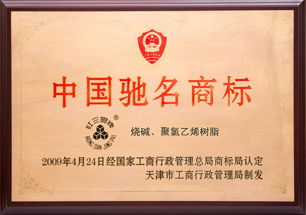 2009年中国驰名商标(烧碱、聚氯乙烯树脂)