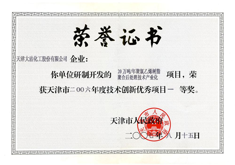 2006年度技术创新优秀项目一等奖(20万吨年聚氯乙烯树脂聚合后处理技术产业化)