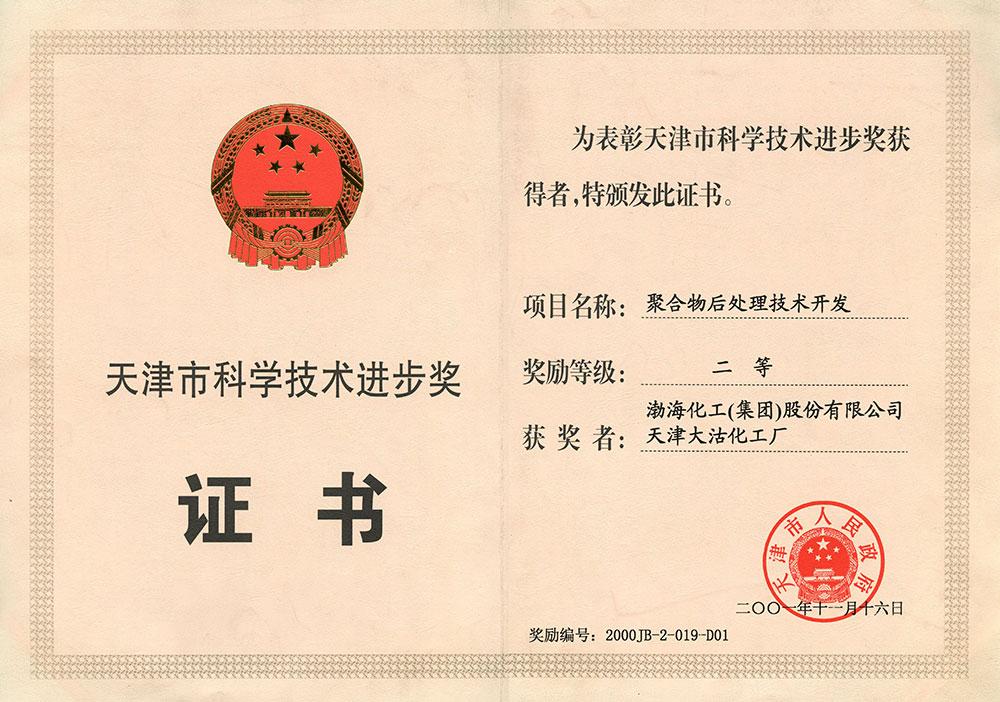 2001年天津市科学技术进步奖二等奖(聚合物后处理技术开发)